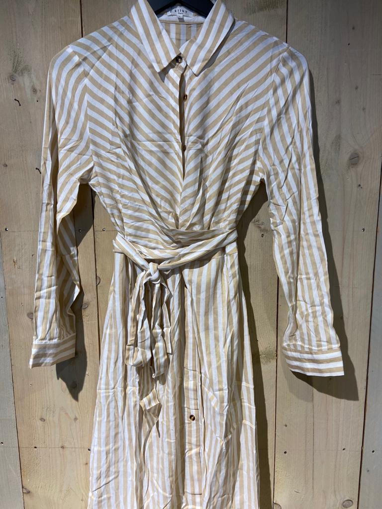 beige streep jurk